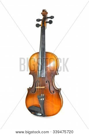 Antique Violin. Isolated White Background Antique Violin.