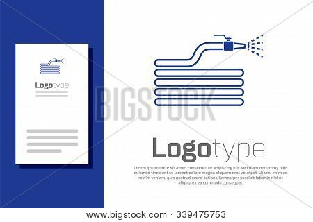 Blue Garden Hose Or Fire Hose Icon Isolated On White Background. Spray Gun Icon. Watering Equipment.