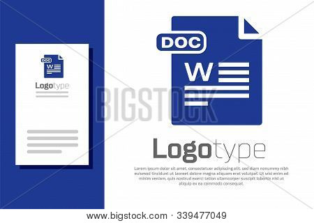 Blue Doc File Document. Download Doc Button Icon Isolated On White Background. Doc File Extension Sy