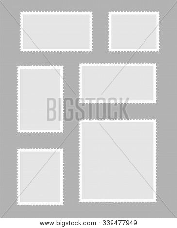 Postage Stamps Vector Vintage Border Post Mail. Postmark Perforated Paper.