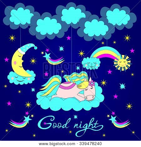 Cute Horse Sleeps On A Cloud From The Moonlight, Suspended By Strings, Good Night Inscription, Vecto