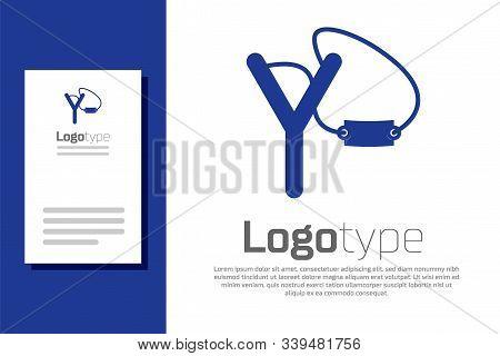 Blue Slingshot Icon Isolated On White Background. Logo Design Template Element. Vector Illustration
