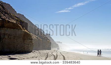 Beach Of Carlsbad California In The Morning,situated Near San Diego, California,usa.