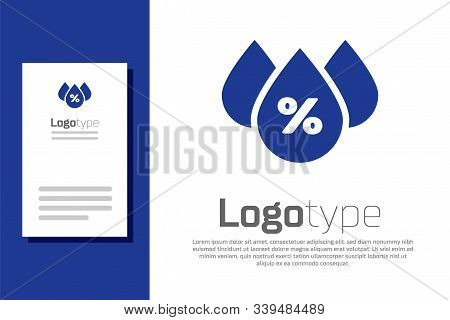 Blue Water Drop Percentage Icon Isolated On White Background. Humidity Analysis. Logo Design Templat