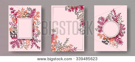 Cute Herb Twigs, Tree Branches, Flowers Floral Invitation Cards Templates. Bouquet Wreath Rustic Car