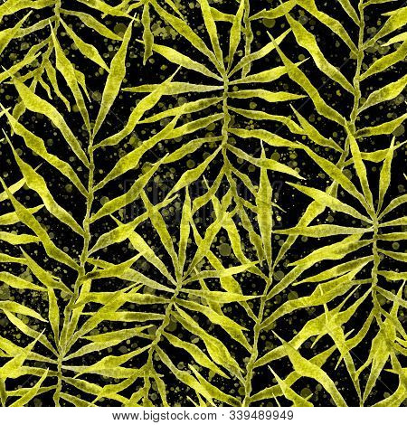 Tropical Seamless Pattern. Watercolor Thorny Palm Leaves, Japanese Bamboo. Green Exotic Swimwear Des