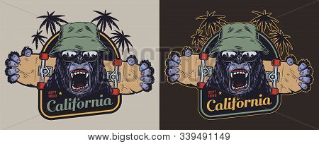 Colorful Skateboarding Vintage Label With Ferocious Gorilla Head In Panama Hat And Sunglasses Palm T