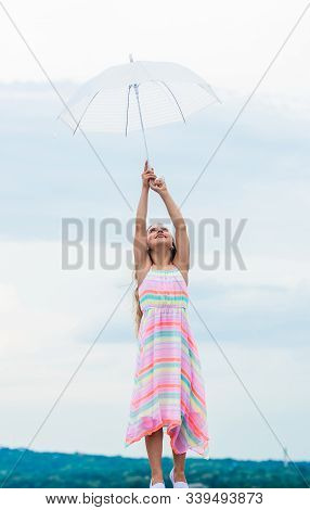 Fly Drop Parachute. Anti Gravitation. Dreaming About First Flight. Kid Pretending Fly. Happy Childho