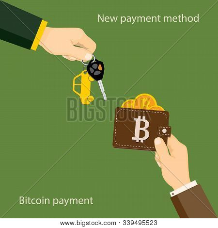 Flat Modern Concept Of Financial Operations With Bitcoin, Bitcoin Payment, Rent, Sale, Business. The