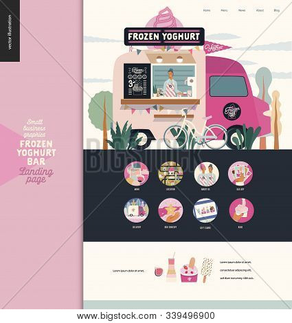 Frozen Yoghurt Bar - Small Business Graphics - Landing Page Design Template - Modern Flat Vector Con