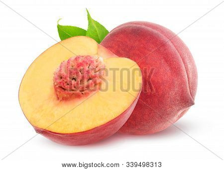 Isolated Peaches. One Whole Peach Fruit And A Half With Kernel Isolated On White Background With Cli