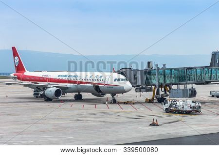 Yubei, Chongqing - China, May 7, 2019 : Sichuan Airlines Aircraft At Chongqing Jiangbei Internationa