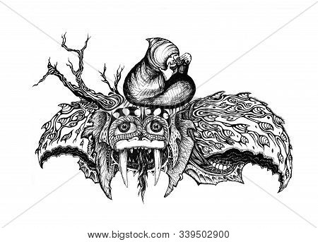 Fantastic Ink Drawing Of A  Turtle Like Creature With Tusks And Kind Eyes, Flying With A Mongolian M