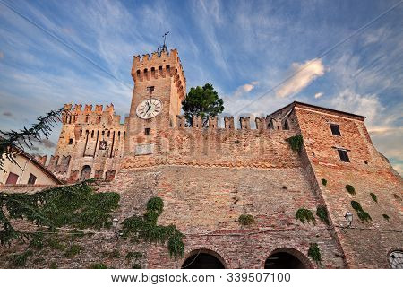 Offagna, Ancona, Marche, Italy: View Of The Medieval Castle Of The Picturesque Ancient Village