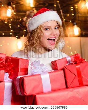 Christmas Shopping Concept. Preparing Surprise. Pick Perfect Gift. Give And Receive. Wishing You Pro