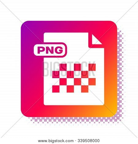 White Png File Document. Download Png Button Icon Isolated On White Background. Png File Symbol. Squ