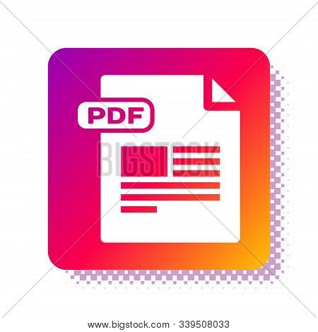 White Pdf File Document. Download Pdf Button Icon Isolated On White Background. Pdf File Symbol. Squ