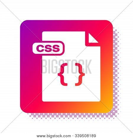 White Css File Document. Download Css Button Icon Isolated On White Background. Css File Symbol. Squ