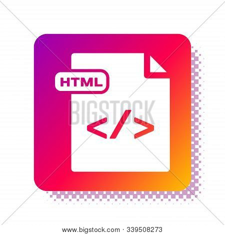 White Html File Document. Download Html Button Icon Isolated On White Background. Html File Symbol.