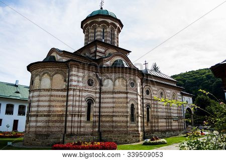 Valcea, Romania - September 11, 2019: Cozia Monastery Is A Medieval Orthodox Monastic Complex From T