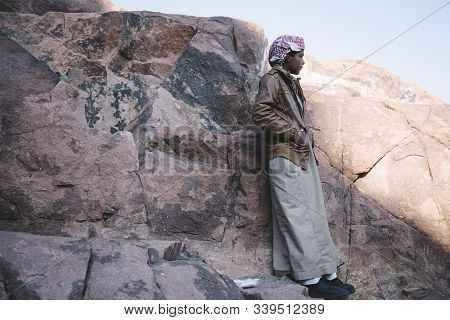 Mount Sinai, Sharm Ash Sheikh, Egypt - 25 October 2017. Young Resident Of The Sinai Peninsula. Bedou