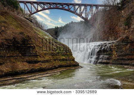 The Upper Falls Along The Genesee River Inside Letchworth State Park.  Taken During The Winter Howev