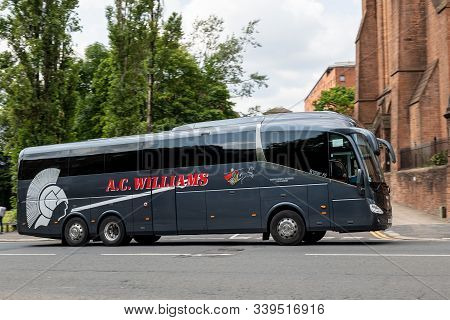 Glasgow, Scotland - July 31, 2019: Grey Scania Irizar I6 Coach Of The A.c. Williams Company In Glasg