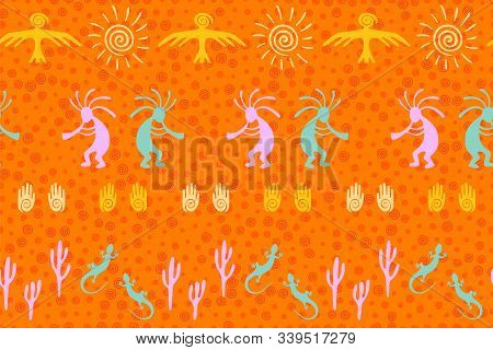 Southwestern Native American Vector Ethnic Tribal Motifs Seamless Pattern. Mythical Design With Liza