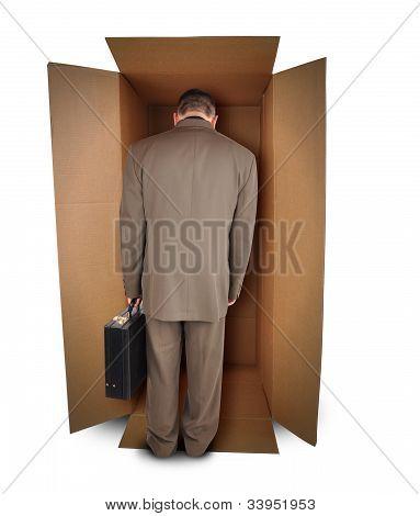 Business Man Unhappy Job in Box