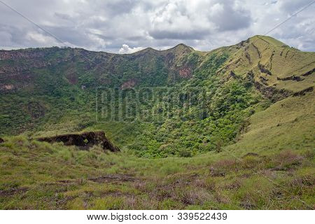 Dormant And Forested Crater In Masaya Volcano National Park, Nicaragua.