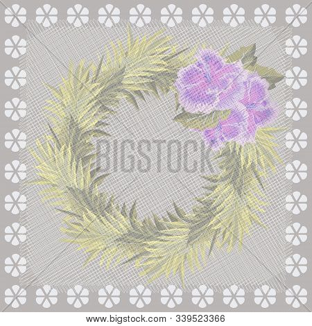 Square flower arrangement. Vintage floral pattern for printing on scarves, postcards, carpets, bandanas, napkins, home textiles, covers, pareos.Subdued aged effect. poster
