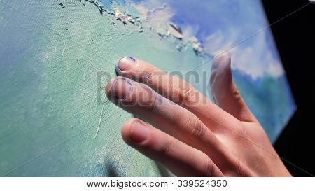 Artist Copyist Paint Seascape With Ship In Ocean. Craftsman Decorator Draw As Boat Sail On Blue Sea