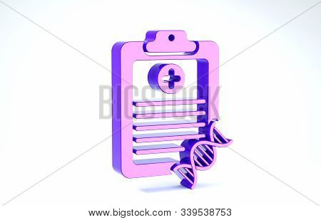 Purple Clipboard With Dna Analysis Icon Isolated On White Background. Genetic Engineering, Genetics