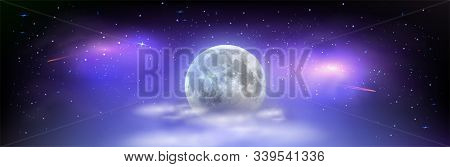 Nocni Oblohabeautiful Wide Picture Of Space With Full Moon Hidden Behind The Clouds. Mystical Night