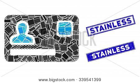 Mosaic Banking Card Pictogram And Rectangular Stainless Seal Stamps. Flat Vector Banking Card Mosaic