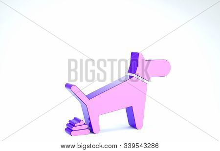 Purple Dog Pooping Icon Isolated On White Background. Dog Goes To The Toilet. Dog Defecates. The Con