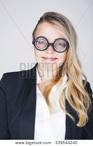 Bookworm, Cute Young Blond Woman In Glasses, Blond Hair, Teenage Goofy, Lifestyle People Concept