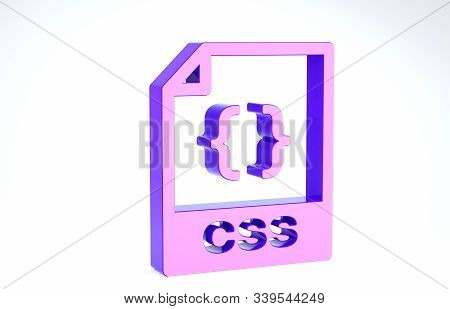 Purple Css File Document. Download Css Button Icon Isolated On White Background. Css File Symbol. 3d