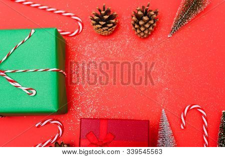 New Year, Christmas Xmas Holiday Composition, Top View Green And Red Gift Box, Clews Of Rope, Green