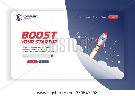 Boost Your Startup Website Landing Page Vector Template Design Concept