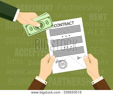 Flat Concept Of Financial Operations, Rent, Sale, Business. Top View The Man Hand Giving Money And H