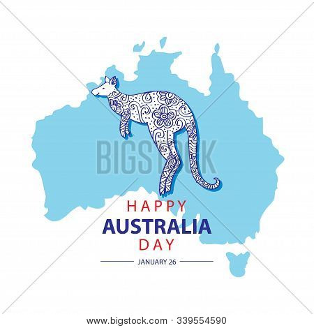Australia Day With Map Of Australia An Kangaroo. 26 January Happy Australia Day. Greeting Card.