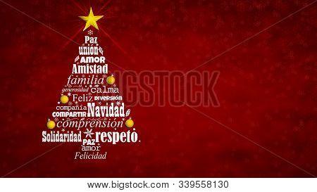Greeting Card Of Feliz Navidad - Merry Christmas In Spanish Language. Word Cloud Forming A Christmas