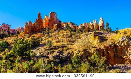 Sunset Over The Vermilion Colored Hoodoos At The Mossy Cave Trailhead Of Bryce Canyon National Park,