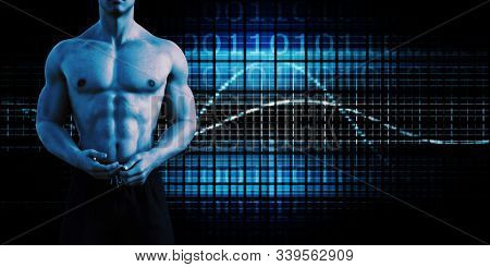 Muscular Torso of a Man on Black as Fitness Concept 3D Render