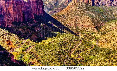 Zion Canyon, With The Hairpin Curves Of The Zion-mount Carmel Highway On The Canyon Floor, Viewed Fr