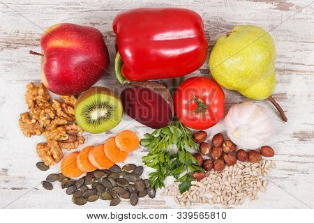 Food For Kidneys Health And Gout Inflammation. Concept Of Healthy Eating As Source Natural Vitamins