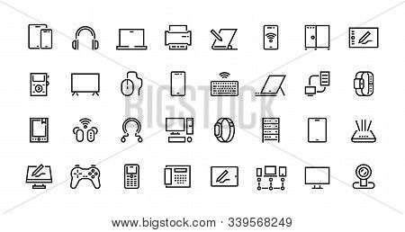 Computers Line Icons. Desktop Pc, Laptop And Network Station Pictograms, Tablet Computer And Electro