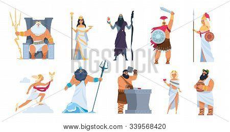 Greek Gods. Cartoon Ancient Mythology Characters, Vector Zeus Ares A Poseidon Gods And Goddess Isola