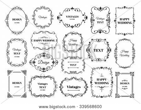 Vintage Frame Label. Ornamental Logotypes With Decorative Floral Retro Elements. Vector Antique Fram